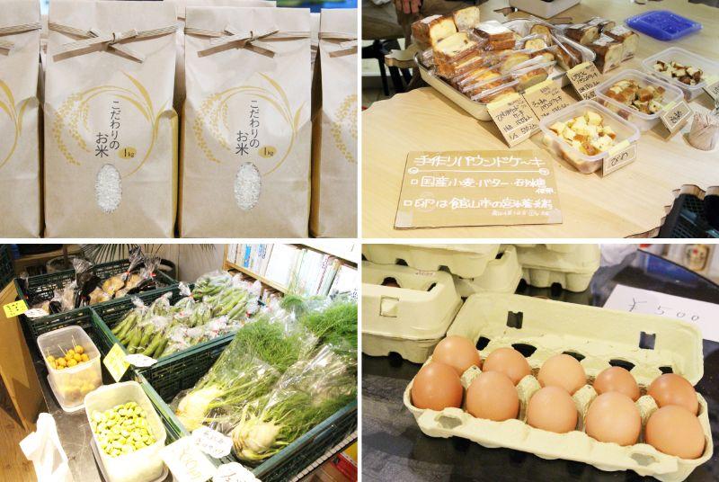 ミニマルシェで並んだプレゼンテーターたちが手塩にかけた農産物や加工品たち