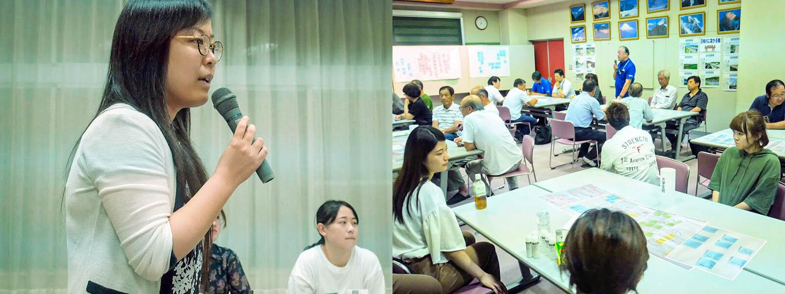 ファシリテーターを務める小関久恵先生 /参加者で「日向里かふぇ」の運用をかんがえる