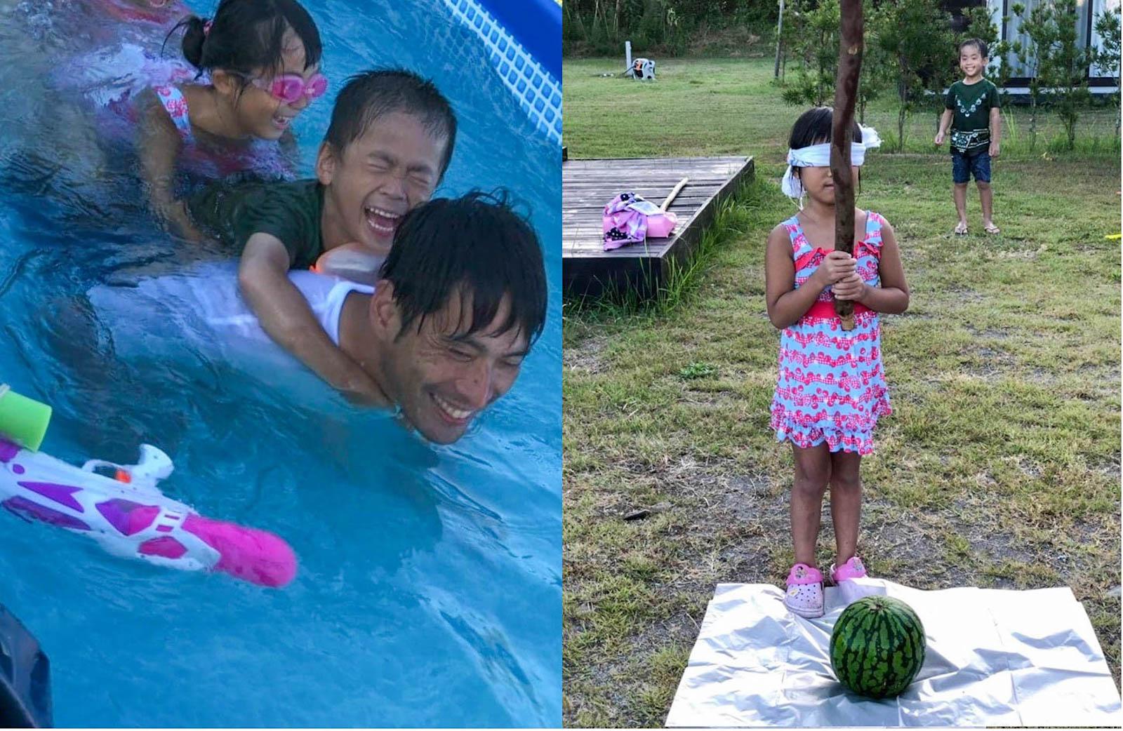 プールの隣でスイカ割り。夏場は日が暮れるまで水着で過ごします