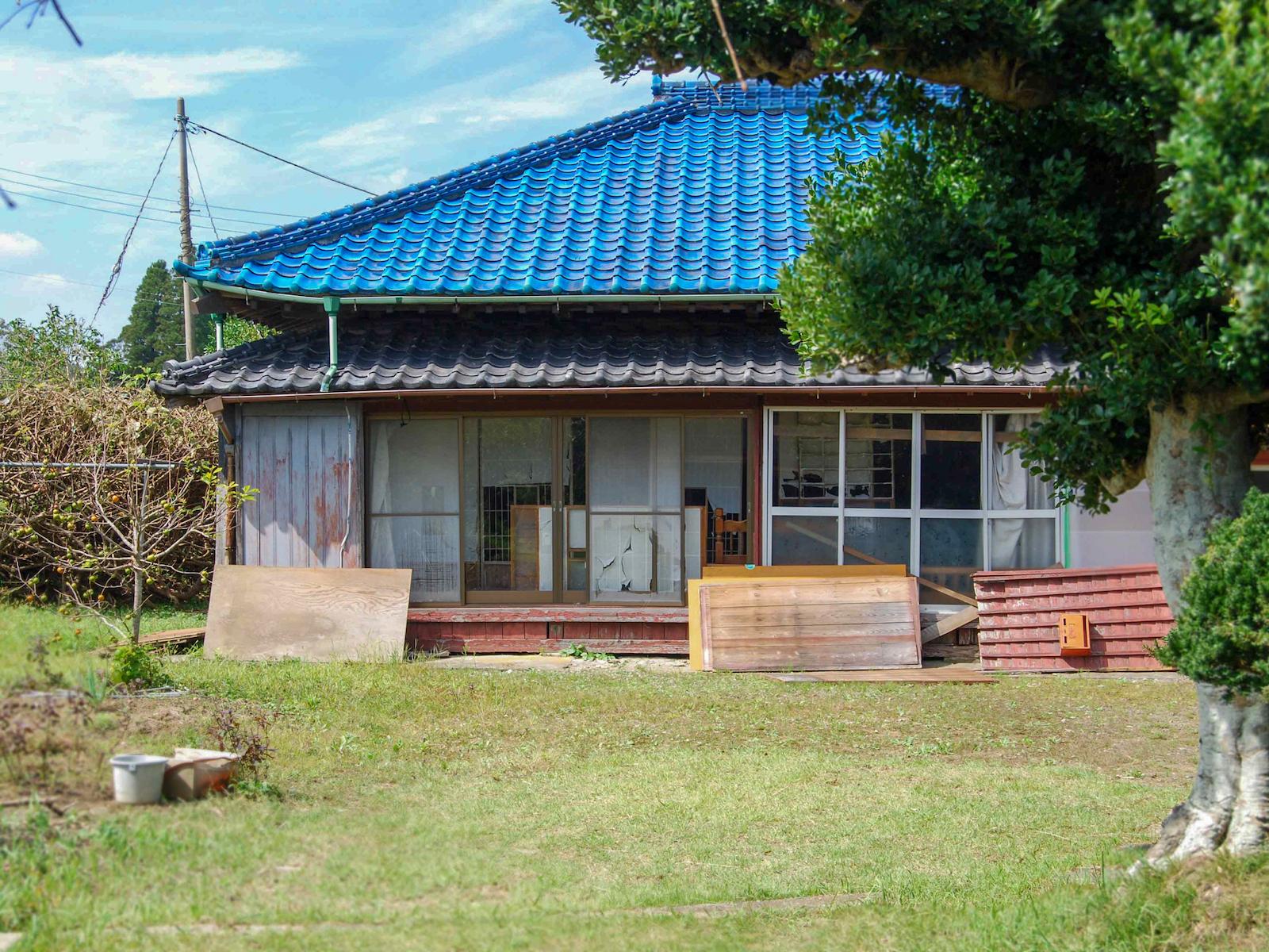青い瓦屋根が特徴。広い庭と入り口に立つ大きなもちの木