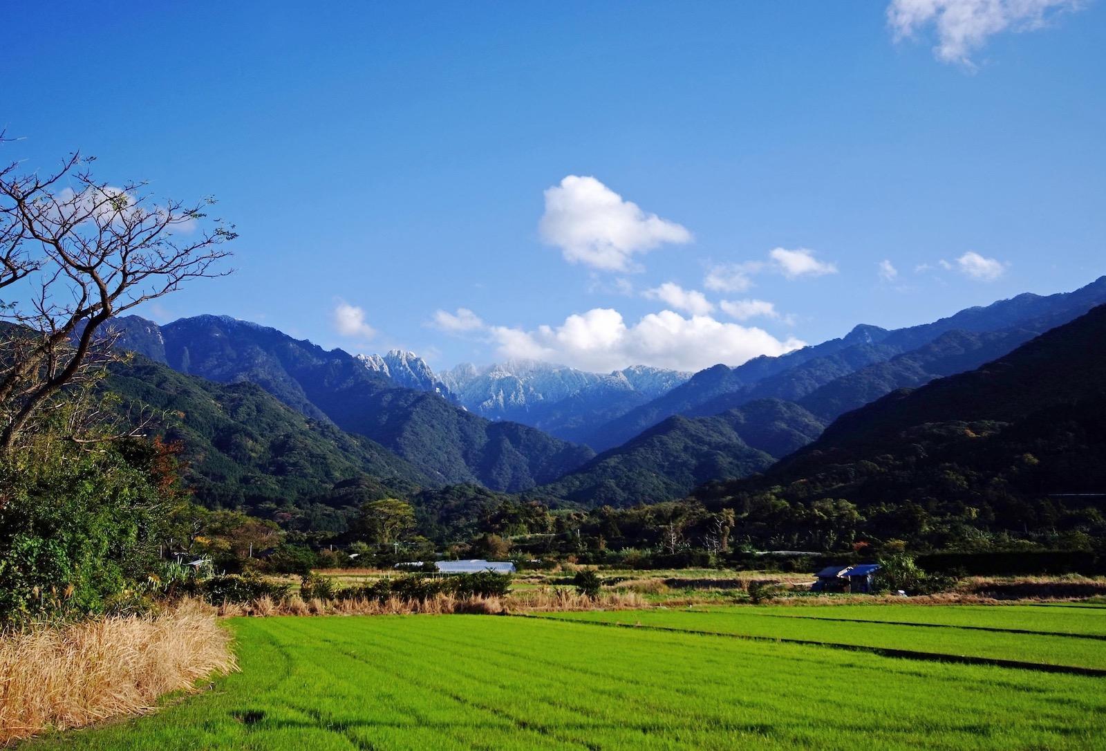 島内で唯一、奥岳が見える永田集落の風景。山と里が直結している。