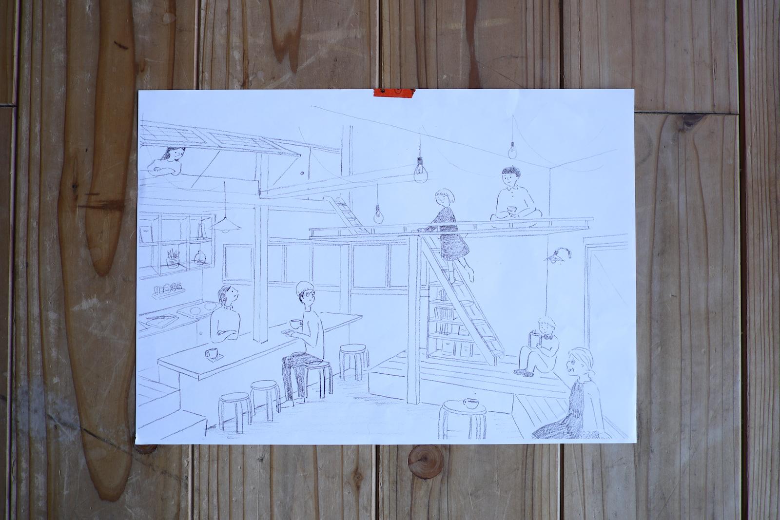ボーダーを超えて人がつながるゲストハウスほりわりのリビング。仲間の1人が描いてくれたイラストです。