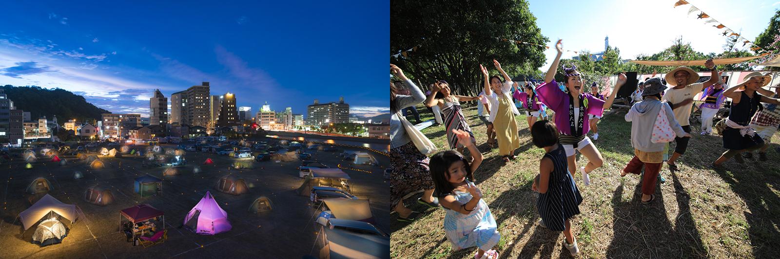 AWAODORI CAMPでは、自然と来場者との交流も生まれる(撮影 左:千葉大輔 右:松田大輔)