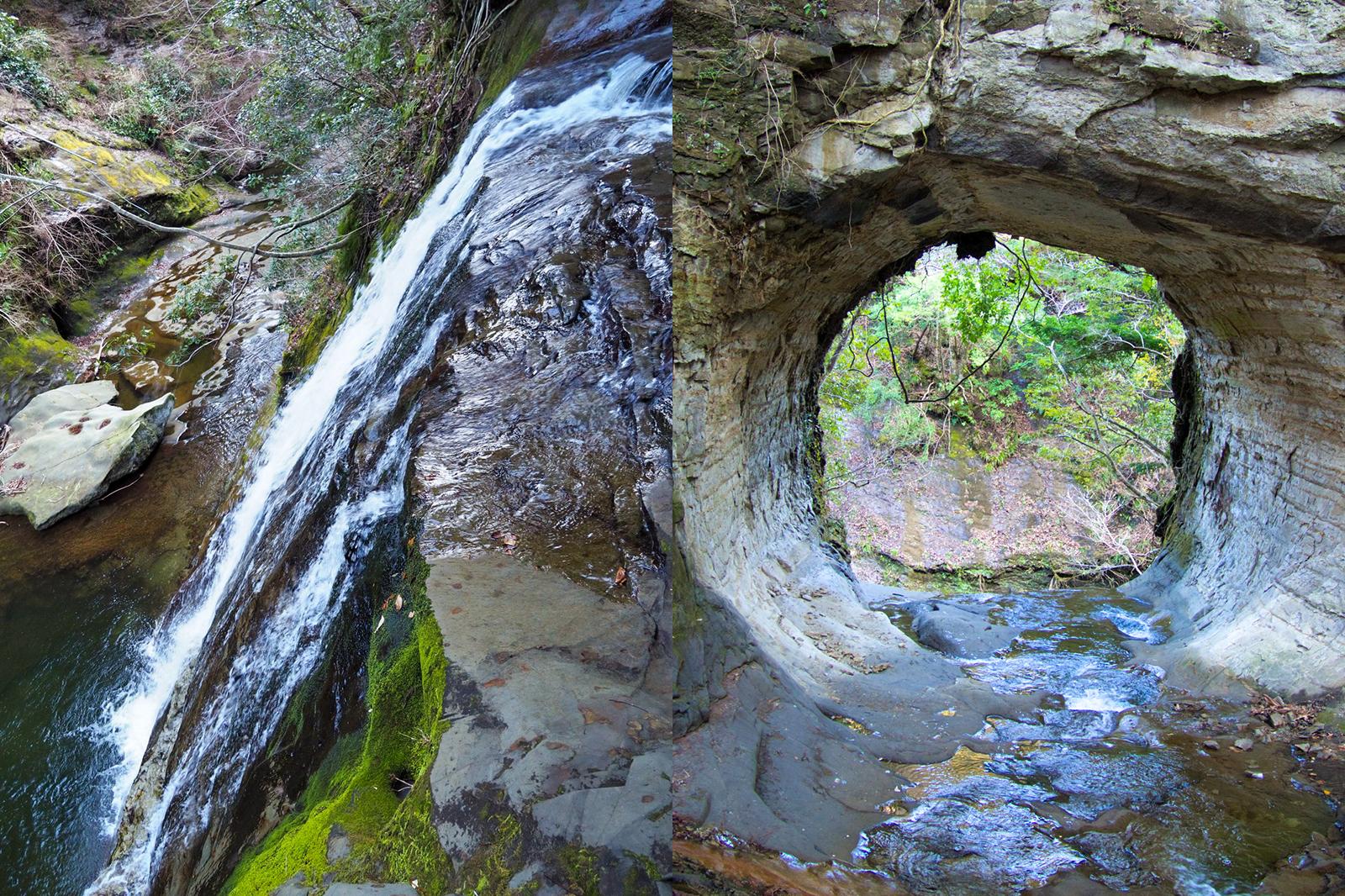 九十九谷の奥地にある秘境滝や普段は行けないようなトンネル滝もご案内