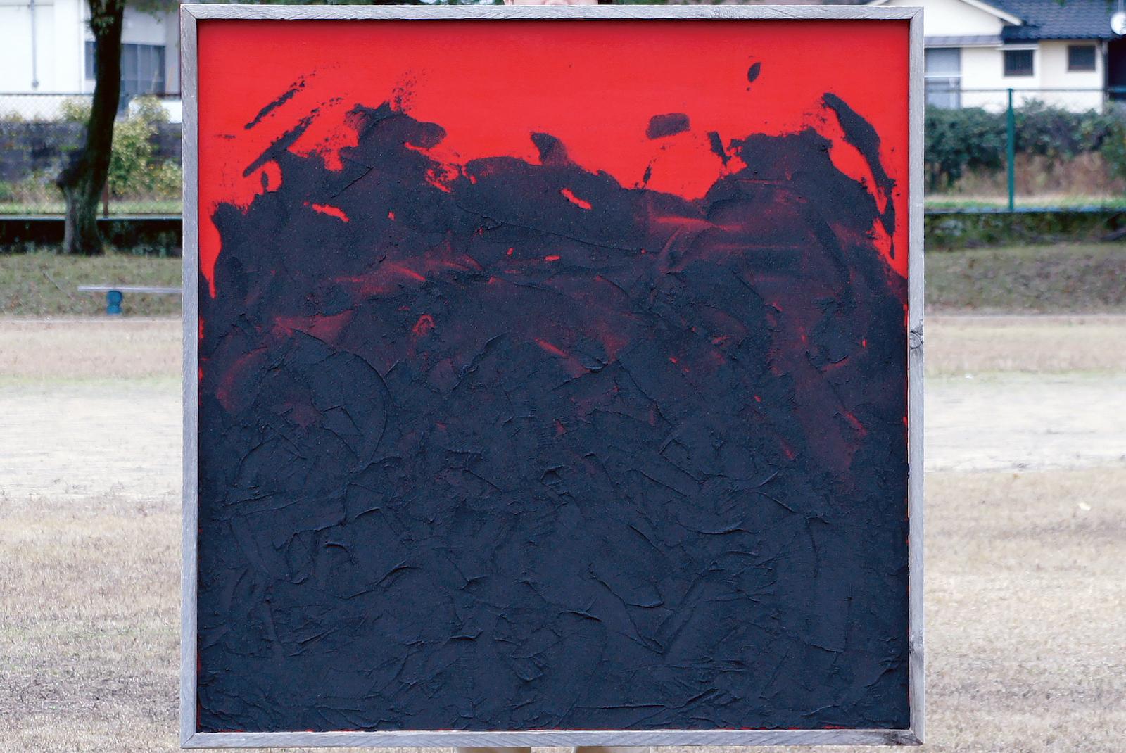 鹿児島移住後、最初に制作した「灰の絵」(2012年入選作品)