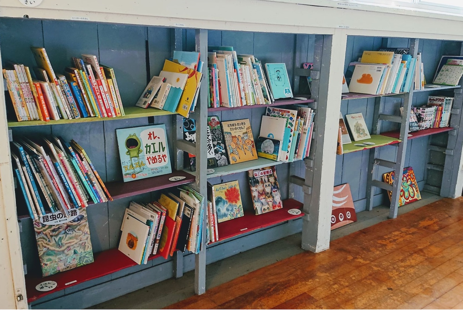 シラハマ校舎廊下に設置した子供用書庫。元は上履きを入れる棚でした