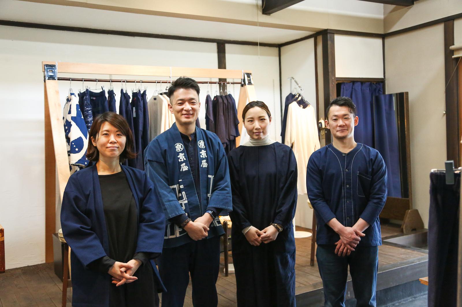 左から京屋染物店の三浦真衣さん、蜂谷悠介さん、庄子さおりさん、寺嶋康平さん