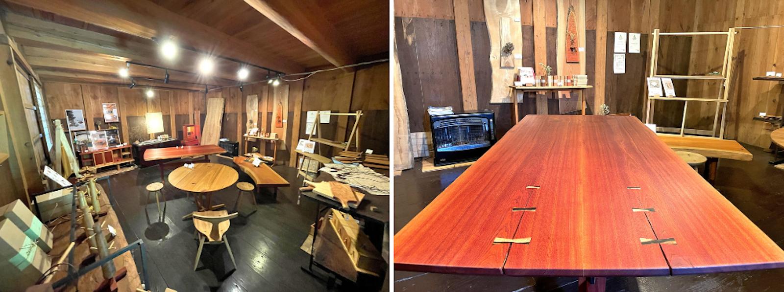 130年の米蔵を改装したギャラリーと、割れを活かした千切りの入ったテーブル