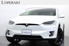 テスラ モデルX P100D ワンオーナー 走行4,000km台 純正22インチオニキスブラックアルミ 6シーターインテリア カーボンファイバーデコール