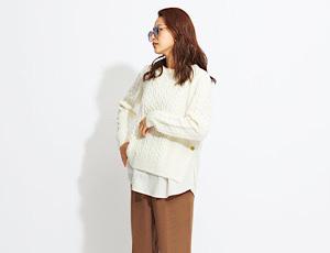 ニットの裾からシャツがチラリ☆『レイヤードニット』が入荷中!