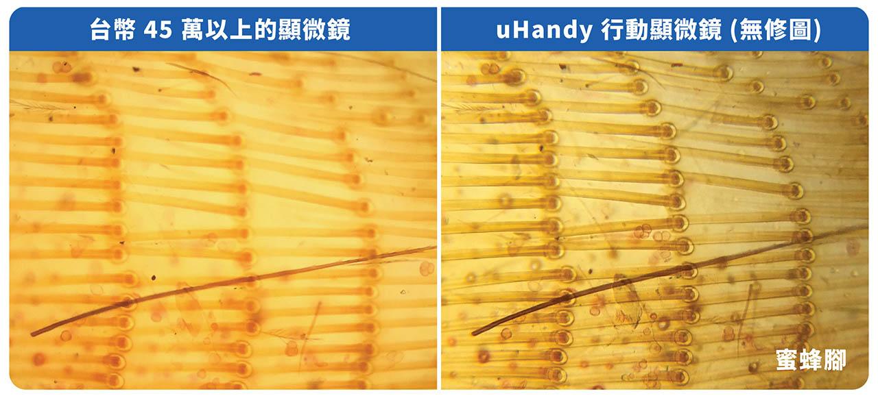 uHandy 與專業顯微鏡實拍比較圖