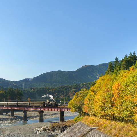 大井川第四橋梁と並ぶ歩道橋の上のサムネイル