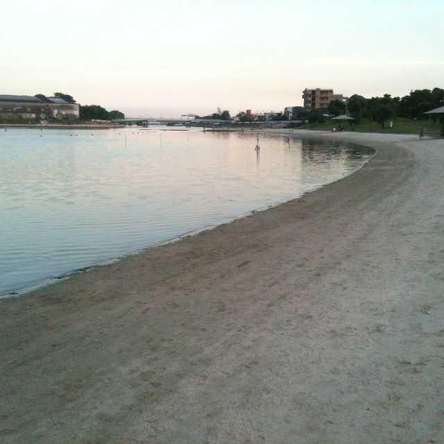 川に浜辺?