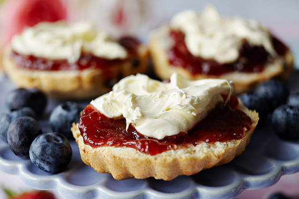 Close up of sliced scone wi...