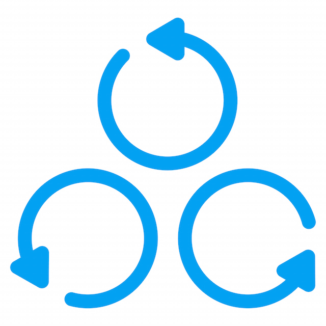 Rotation vector icon. Style is flat symbol, blue color, rounded angles, white background.