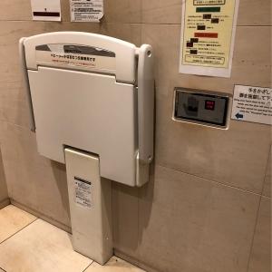 オムツ替え台。台の手前側に扉のスイッチがあるので、その辺に立つと気がつくと扉が開いてしまいます。注意!