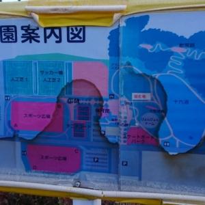 公園案内図。確認したトイレはぴょんぴょんドームすぐわきのトイレです