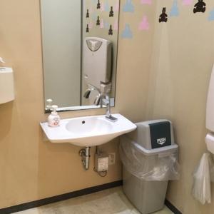 洗面所、オムツ替えシート、ゴミ箱、オムツ用のビニール袋もあります。