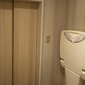 トイレの中は広々して、足下にオムツ専用のゴミ箱があります