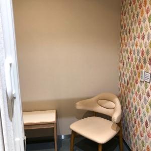 《1階イオンベーカリー横》椅子と小さいテーブル有り。1.5m×1.5mの個室。壁で区切られていて入り口はアコーディオンドアで鍵付き。