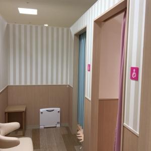 引き戸の授乳室の中にカーテン付きの個室が3つあります。