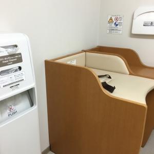 鍵付きの個室になります。この横に 授乳用の椅子と長椅子、調乳用のお湯とミニキッチンシンクが有りました。