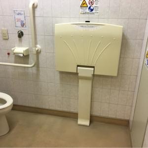 多目的トイレの中におむつ替え台があります。