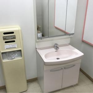 お湯はありませんが、洗面台とおむつゴミ箱があります。