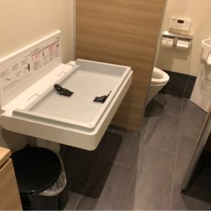 男女共同のトイレにオムツ替え台・ゴミ箱があります。