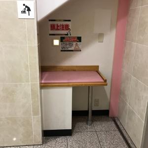 7F女子トイレ入り口すぐにありました。オムツ替えに必要最低限の横幅ですが、余裕で替えられます。ベビーカー横づけでも人1人通れるので大丈夫でした。落下注意です。