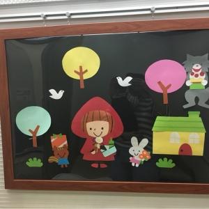 授乳室にこんな可愛らしい赤ずきんの壁面アートがありました