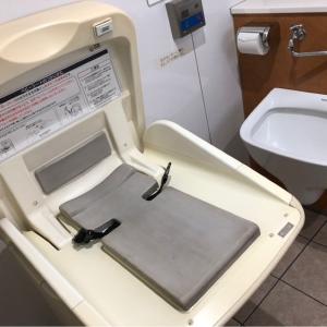 大井町行きの改札内、多目的トイレにオムツ台があります。ベビーカーでも楽々入れる広さです。