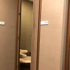 個室はアコーディオンカーテン、中から鍵をかけられます。