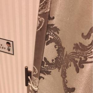 カーテンは紐を引っ掛けて閉じられます。
