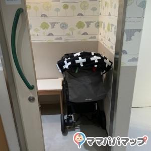 奥の授乳個室。ベビーカーはギリギリ入れられます。こちらはドア付き。