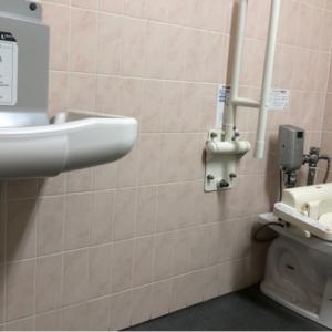 広めのトイレに青いベンチが置いてあり、トイレで授乳している感じです。