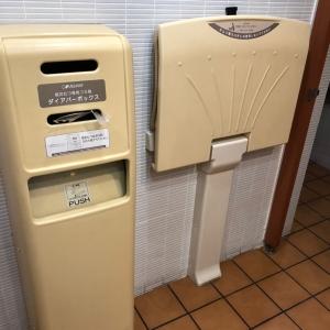 オムツ台とオムツを捨てる袋とゴミ箱あります。