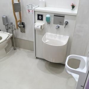 授乳室隣のだれでもトイレにはベビーチェア・ベビーシートあり。清潔です