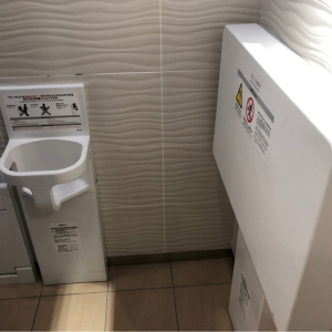 toilet with change table