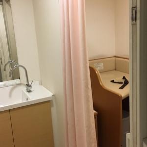 授乳室及びオムツ台がある部屋は1部屋で、最初のカーテンの所で鍵がかけられます。