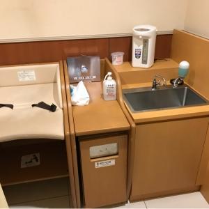 おむつ替え台、水道とミルク用ポットがあります