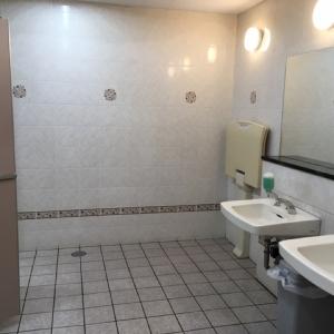 女性トイレ入って一番奥にオムツ台がありました。