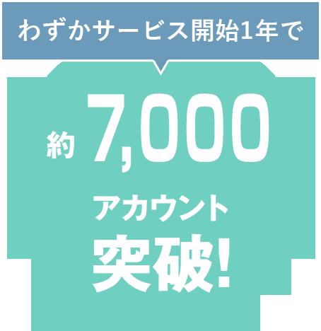 わずかサービス開始1年で約7,000アカウント突破