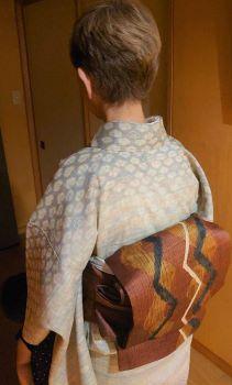 白露の着物コーディネート*しょうざん生紬&くし織帯