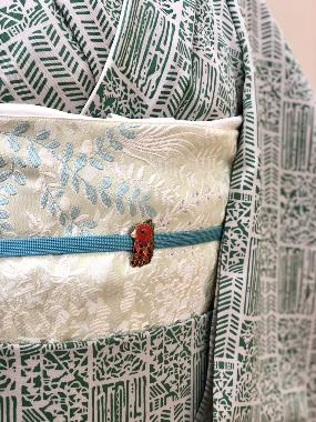 小満の着物コーディネート*疫病退散を願ったアマビエ帯留&hibicolle小紋・帯
