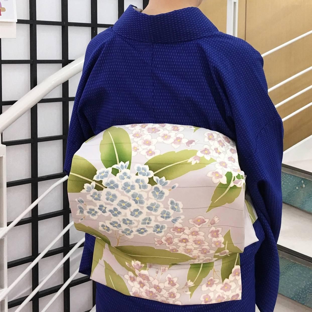夏至の着物コーディネート*あまのやオリジナル結城縮&紫陽花段絽の帯*
