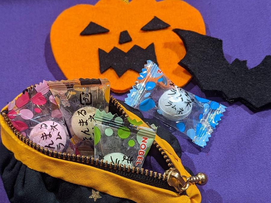 ハッピーハロウィン!!悪戯されないようにキャンディーを用意して待ってるよ!ハロウィンキャンディーミニポーチ作ってみた。