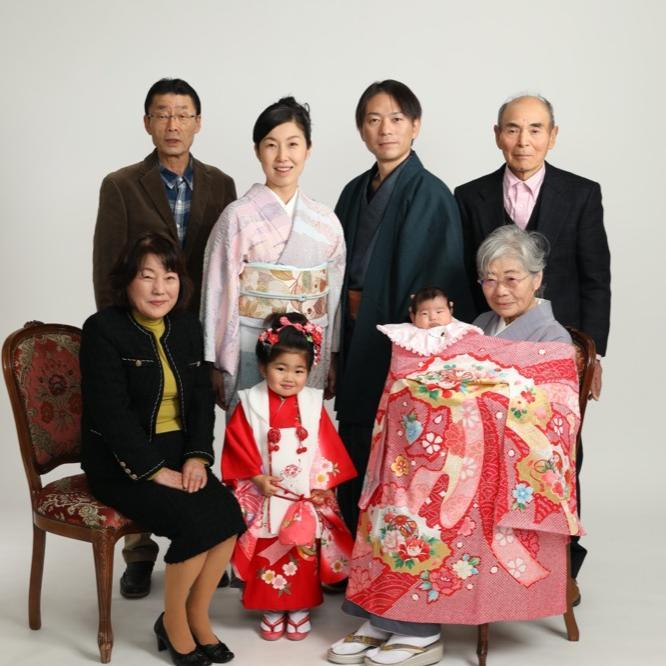 七五三 お宮参り 家族写真