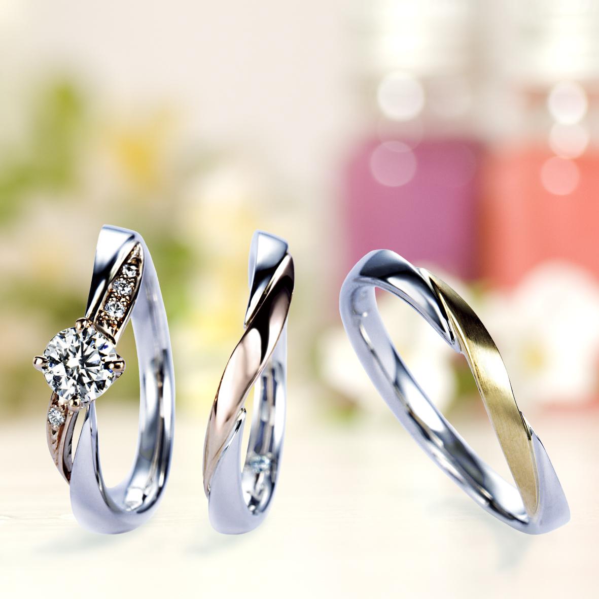 重ね着けが可愛い婚約指輪&結婚指輪