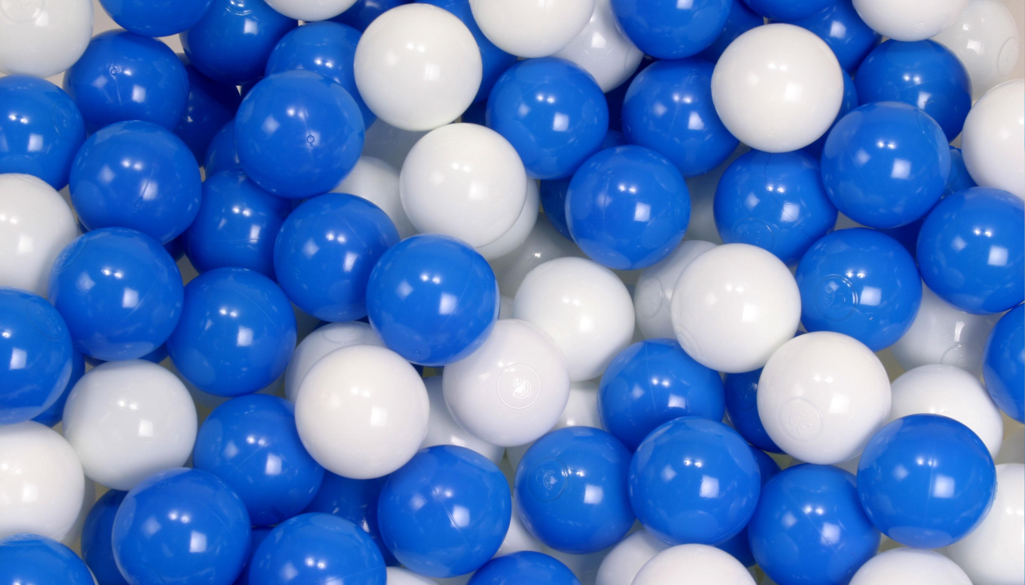 ボールプール用カラーボール ハーフ&ハーフ 白x青